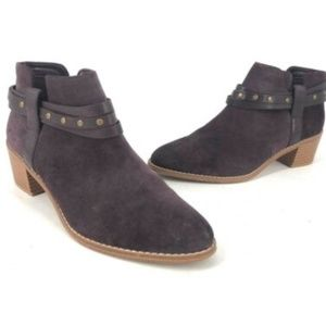 Clarks Purple Aubergine Suede Stud Belt Ankle Boot